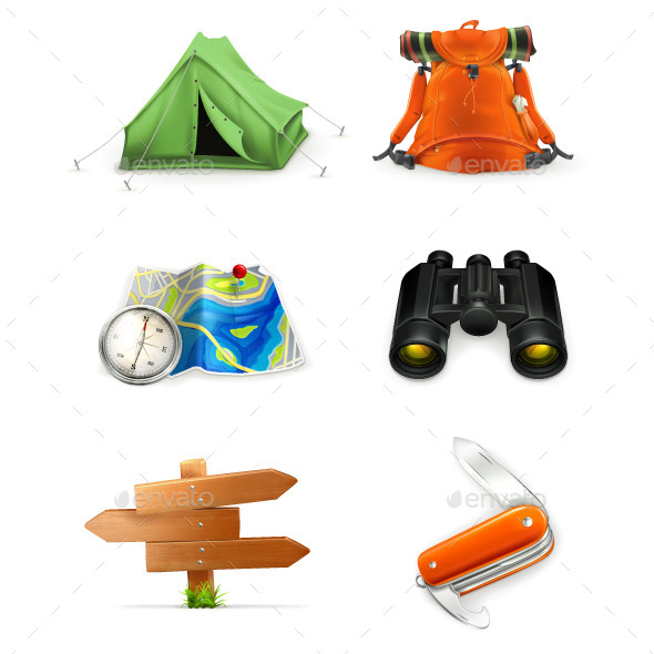 Tourism Illustration Icons - Man-made Objects Objects