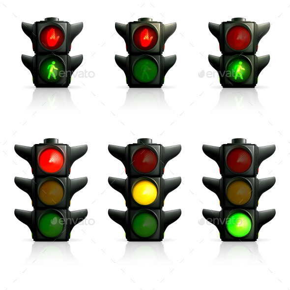 Traffic Lights Icons - Man-made Objects Objects