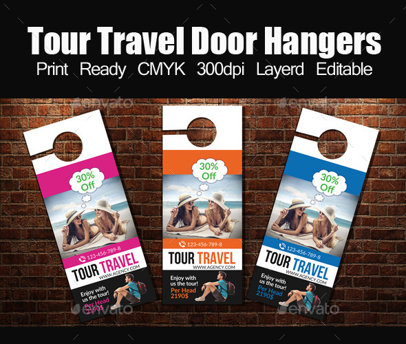 Tour Travel Door Hanger Template By Designhub GraphicRiver - Editable door hanger template