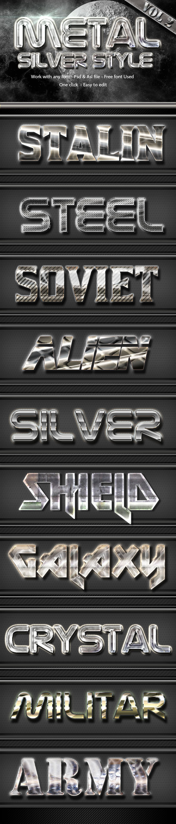 Metal Silver Text Effect Style  Vol 2 - Text Effects Styles