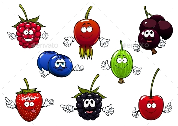 Sweet Cartoon Isolated Berries Characters - Food Objects