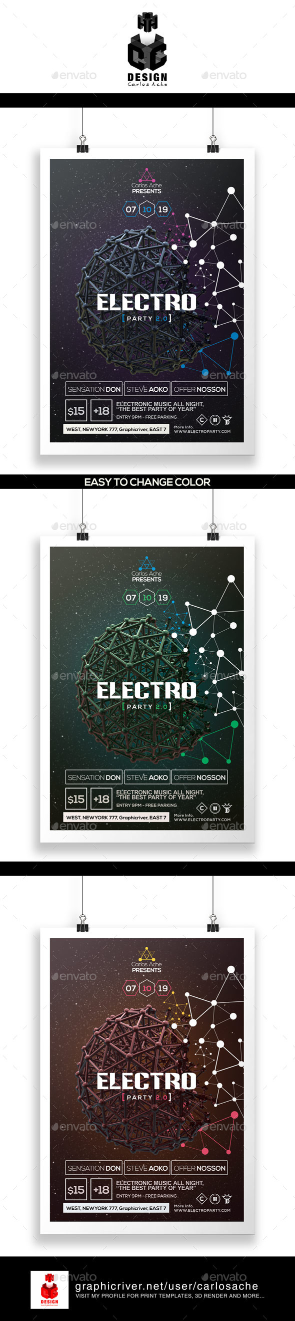 Electro Party Flyer & Poster Template