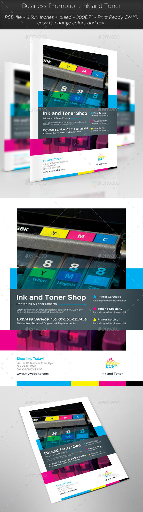 Business Promotion: Ink and Toner - Flyers Print Templates