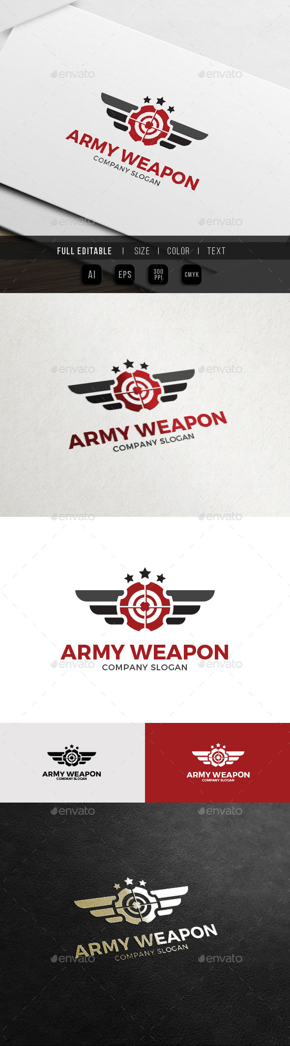 Army Gun Military Weapon Logo