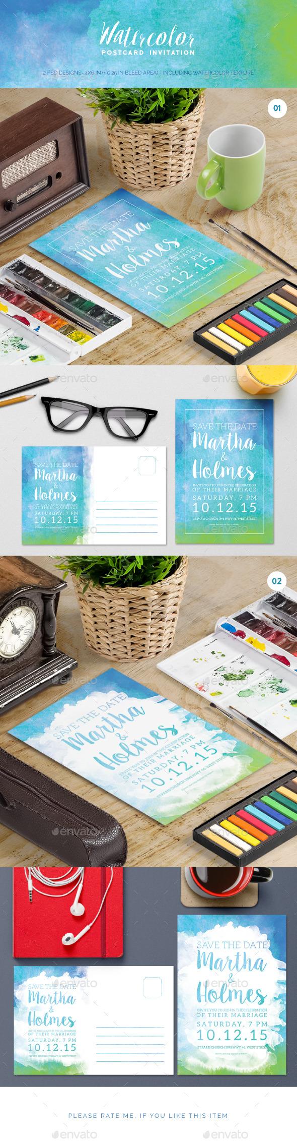 Watercolor Postcard Invitation  - Invitations Cards & Invites
