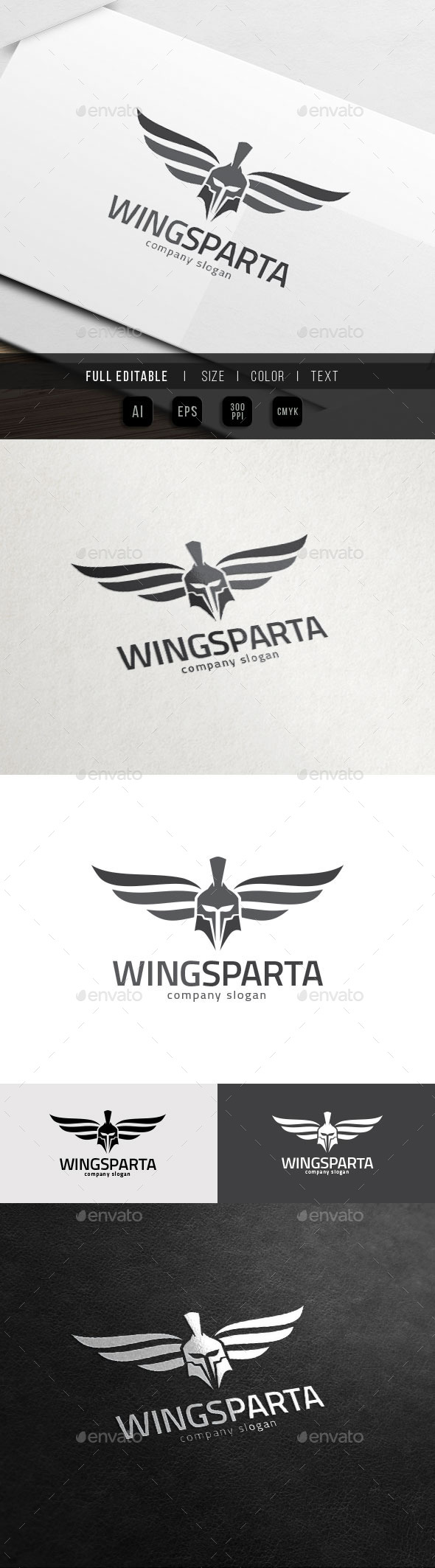 Sparta Wing - Helmet Armour - War Game - Objects Logo Templates