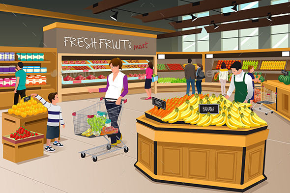 Mother Son Shopping in a Grocery Store - Commercial / Shopping Conceptual