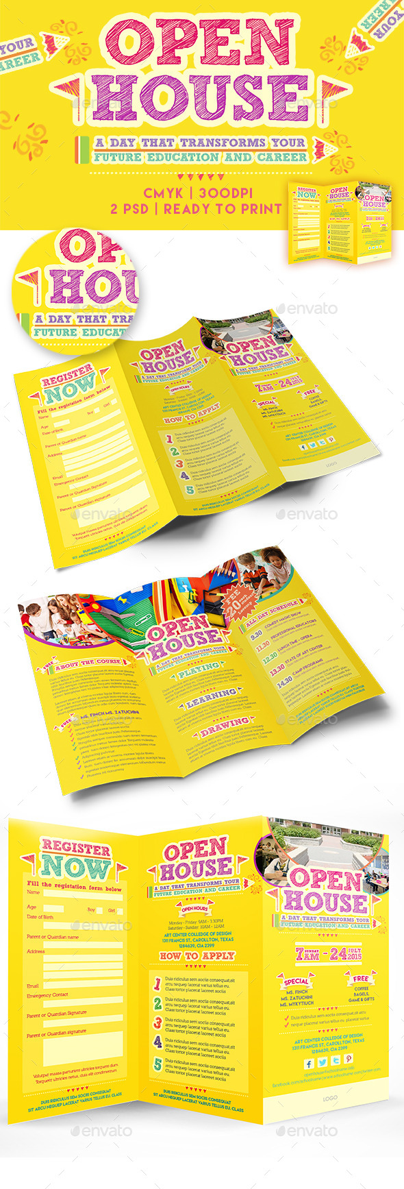 Open House Trifold Brochure Template  - Brochures Print Templates