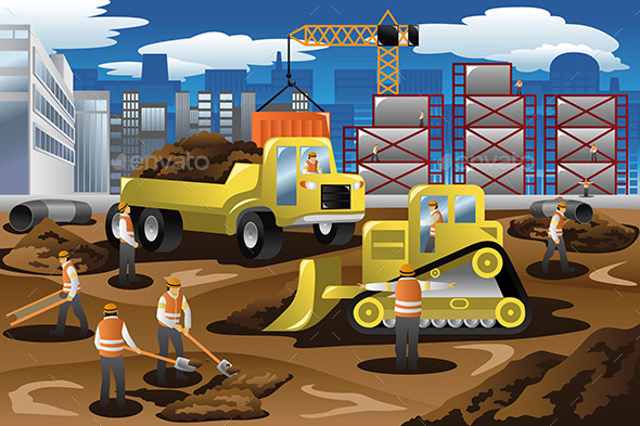 Workers in a Construction Site - People Characters
