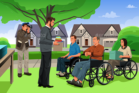 Man Giving Donation to the Disable People - People Characters