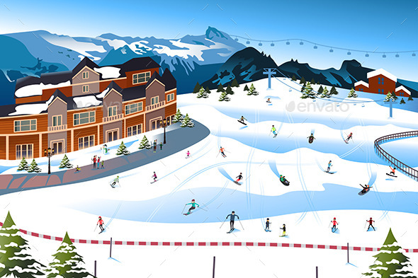 Scene in a Ski Resort - Buildings Objects
