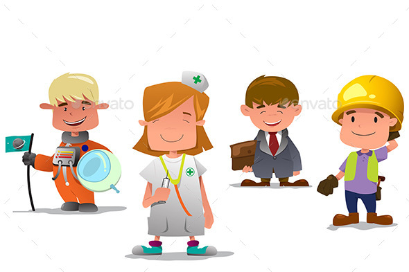 Astronaut, Doctor, Businessman, and Contractor - People Characters