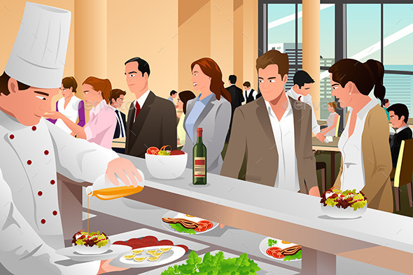 Business People Eating in a Cafeteria - Business Conceptual