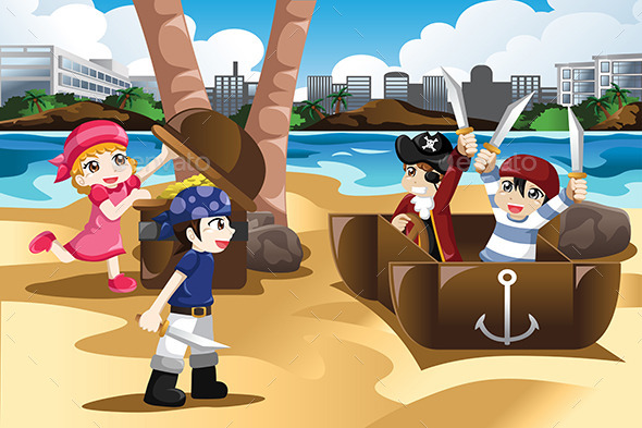 Children Playing as Pirates - People Characters