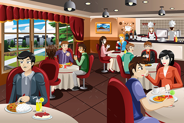 Business People Having Lunch Together - People Characters