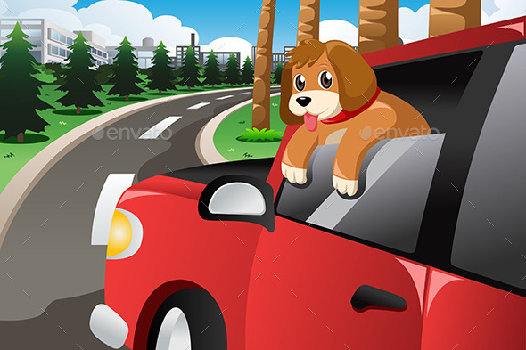 Dog Sticking His Face Out of the Car Window - Animals Characters