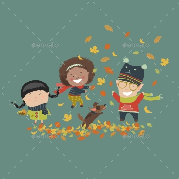 Kids Playing With Autumn Leaves - People Characters