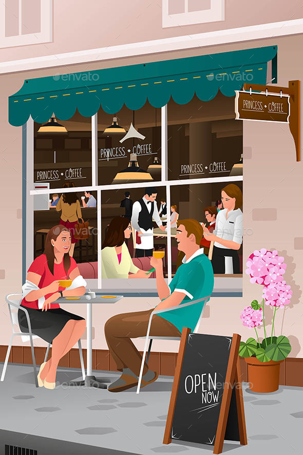Couple drinking coffee at an outdoor cafe - People Characters