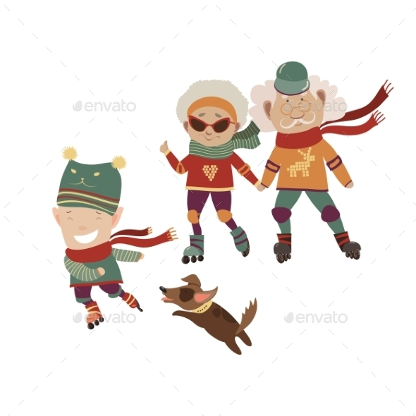 Cartoon Active Grandparents With Grandson - People Characters
