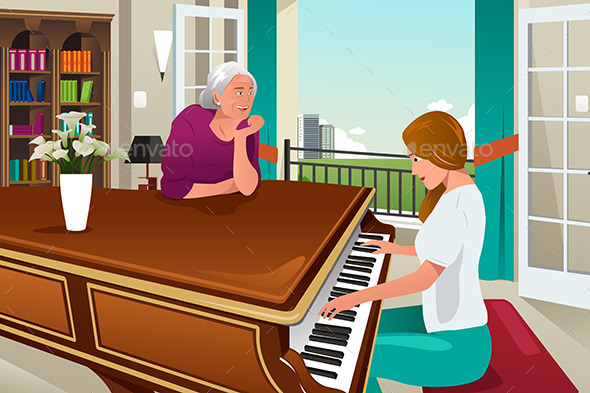 Mother Daughter Playing Piano Together - People Characters