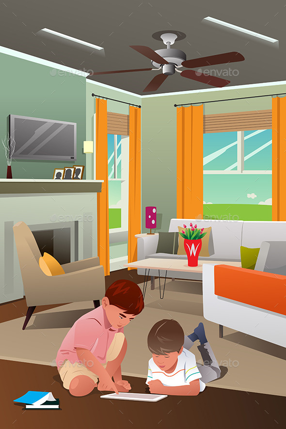 Kids Playing with Tablet PC in the Living Room - People Characters
