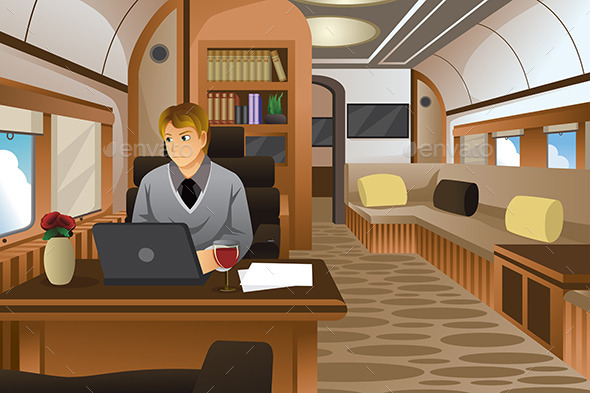 Businessman Traveling in a Luxurious Private Jet - Travel Conceptual