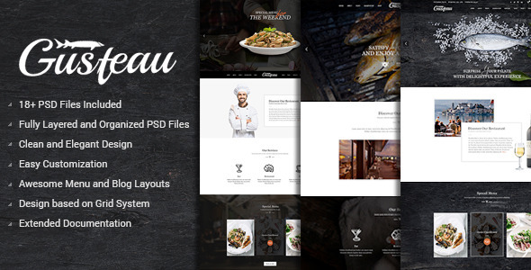 Gusteau Elegant Food and Restaurant PSD Template