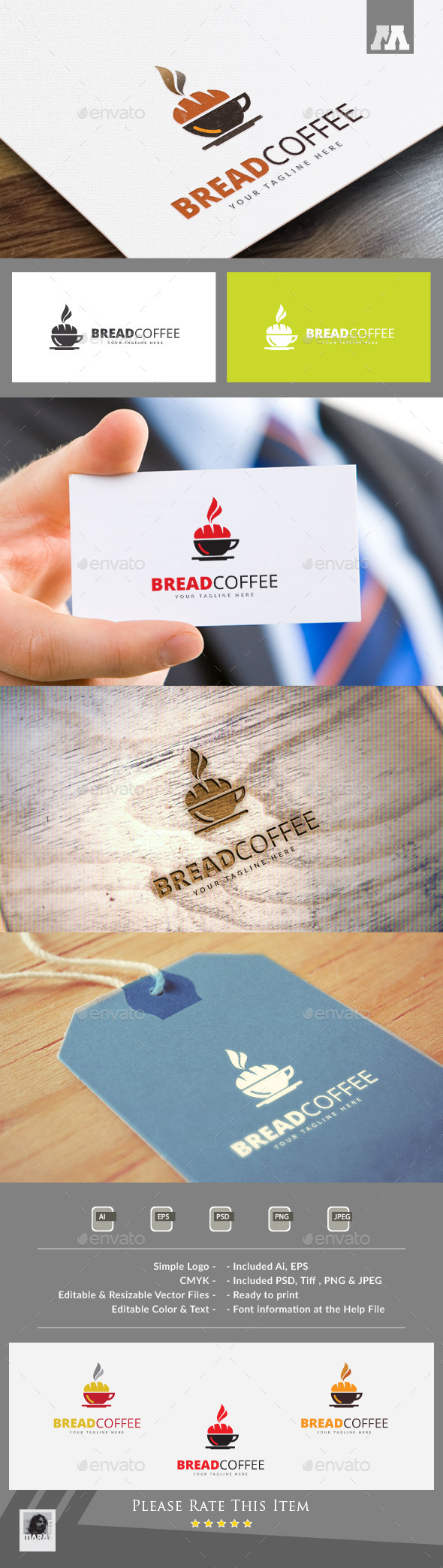 Bread Coffee Logo Template - Food Logo Templates