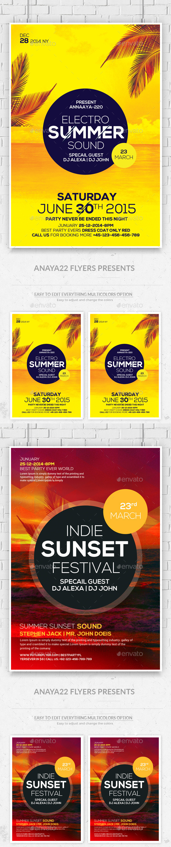 Summer House Flyers Bundle Template - Clubs & Parties Events