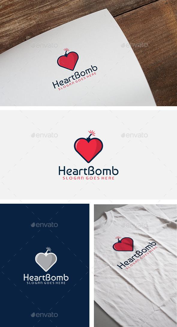 Heart Bomb Logo - Symbols Logo Templates