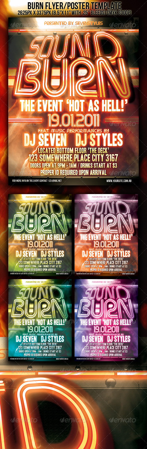 Sound Burn Flyer/Poster Template - Clubs & Parties Events