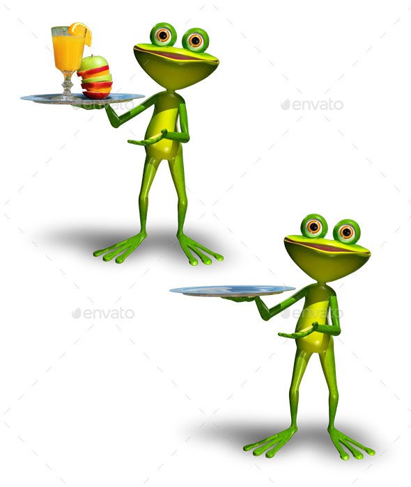 Frog with a Tray with Juice - Characters 3D Renders