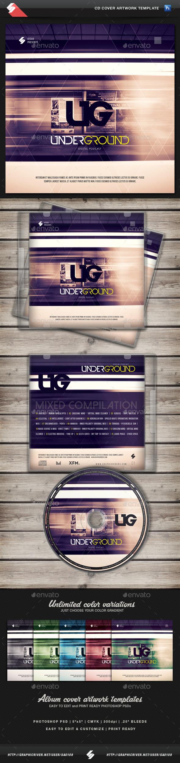 Underground - CD Cover Artwork Template - CD & DVD Artwork Print Templates