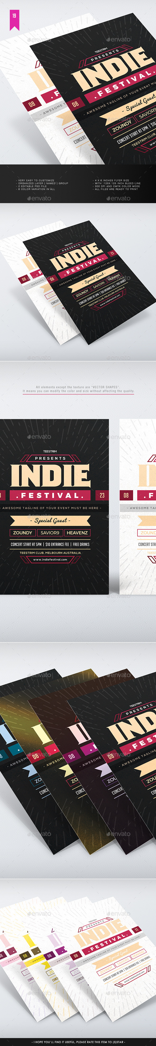 Indie Festival - Flyer Template - Concerts Events