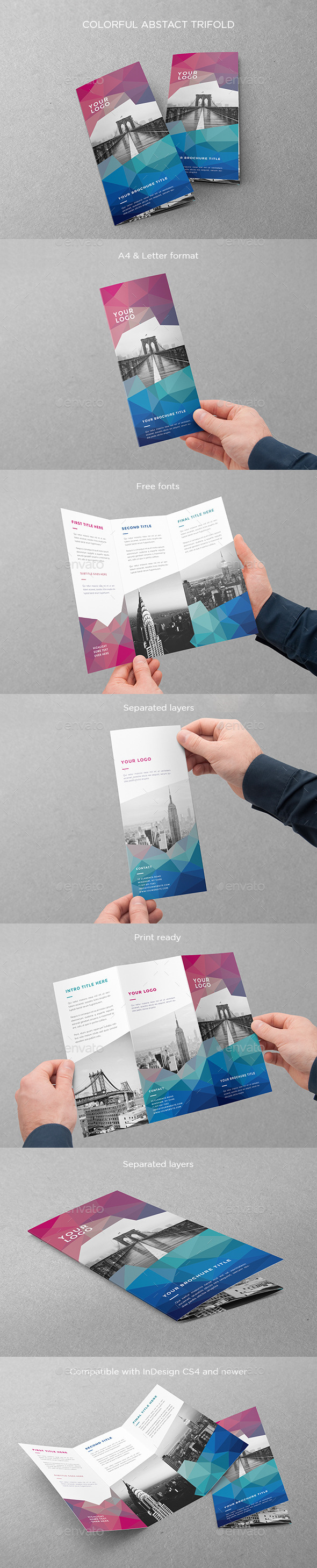 Colorful Abstract Trifold - Brochures Print Templates