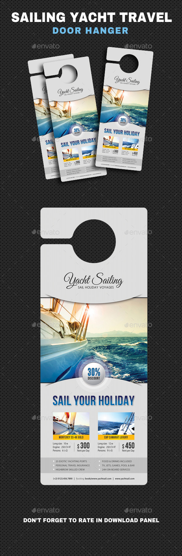 Sailing Yacht Travel Door Hanger V01 - Miscellaneous Print Templates