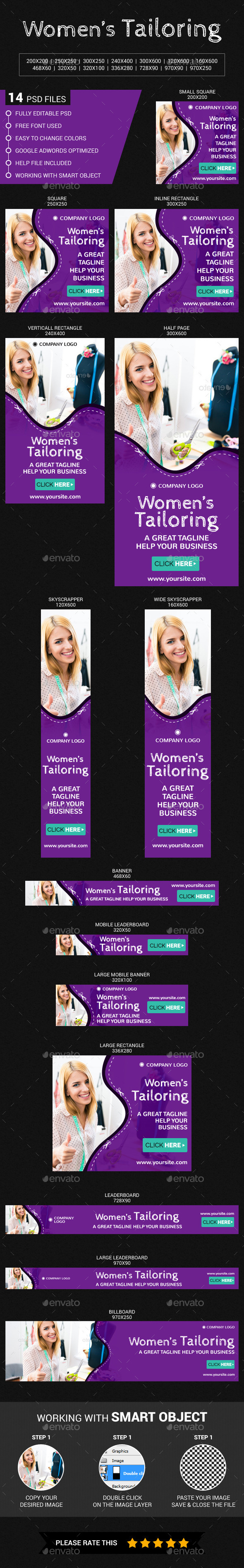 Women's Tailoring - Banners & Ads Web Elements