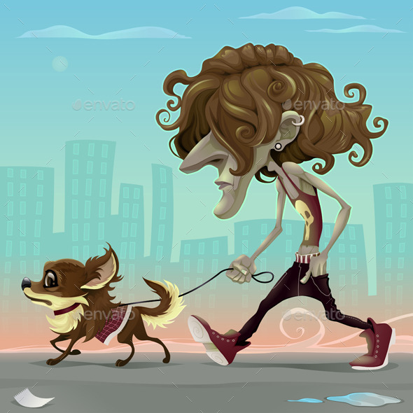 Guy with Dog Walking on the Street - Animals Characters