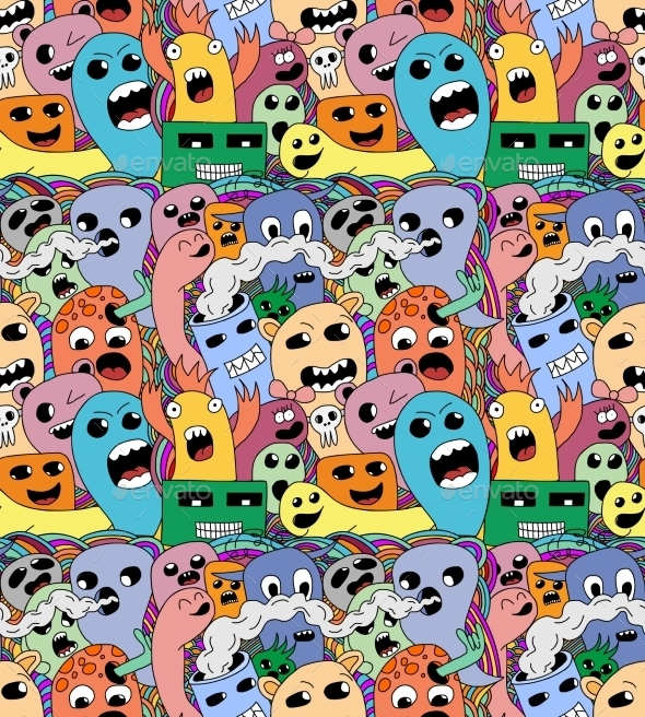 Doodle Monsters Seamless Pattern. - Monsters Characters