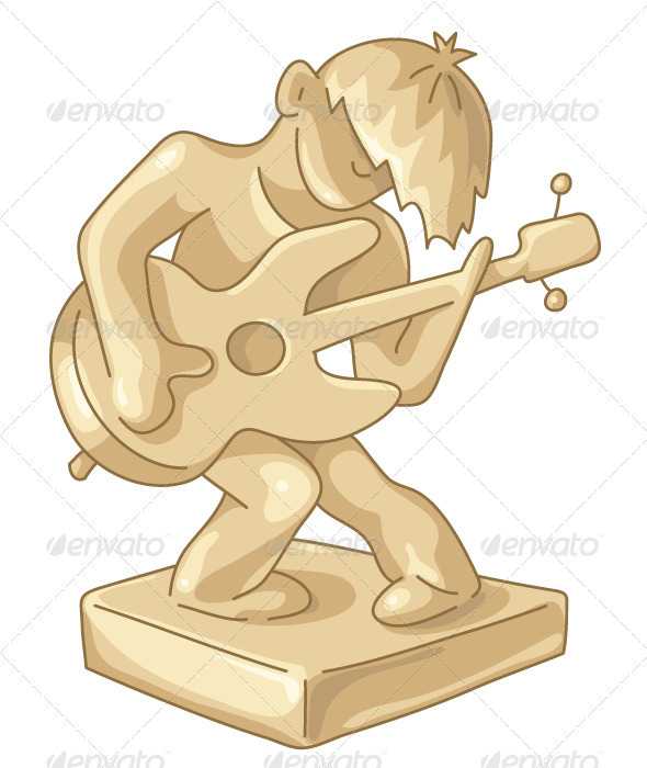 Golden Statuette of the Guitar Player - People Characters