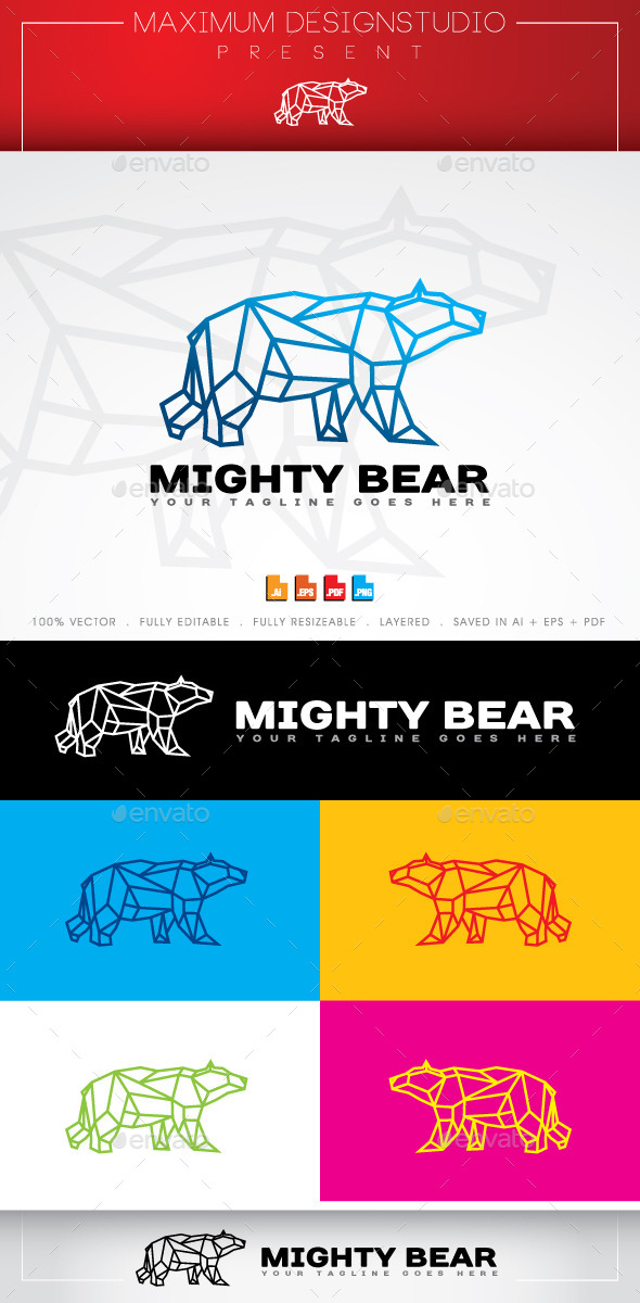 Mighty Bear Logo - Animals Logo Templates