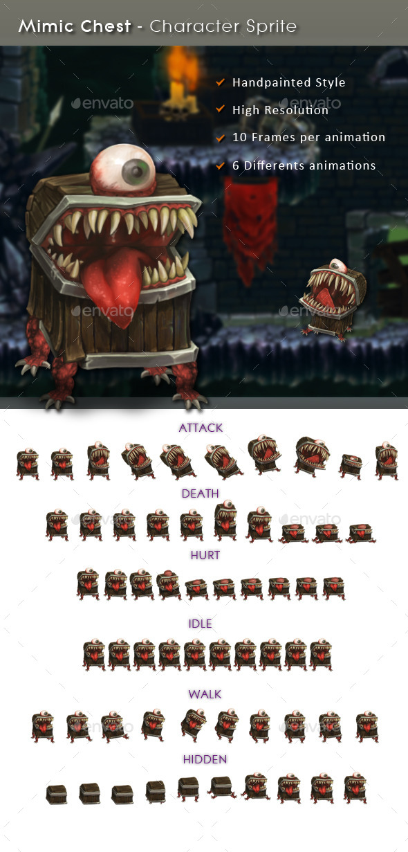 Mimic Chest - Character Sprite - Sprites Game Assets