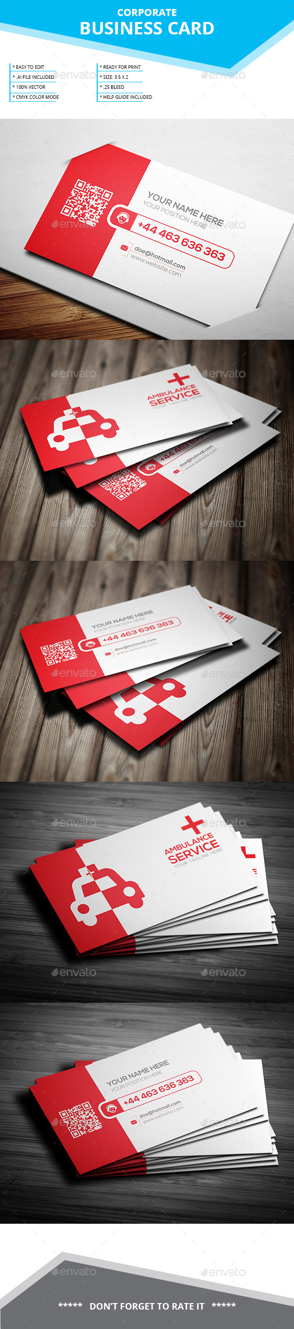 Ambulance Service Business Card  - Business Cards Print Templates