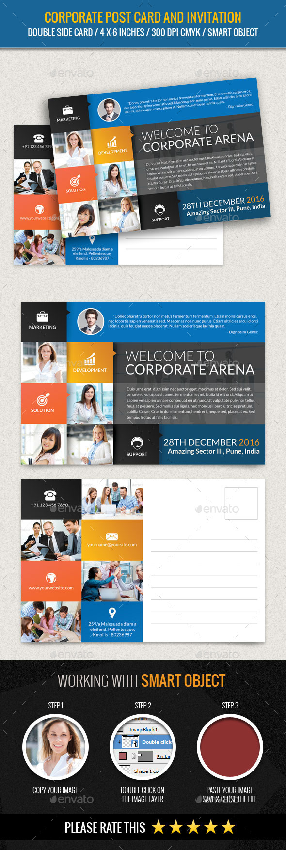 Corporate and Business Post Card Template - Cards & Invites Print Templates