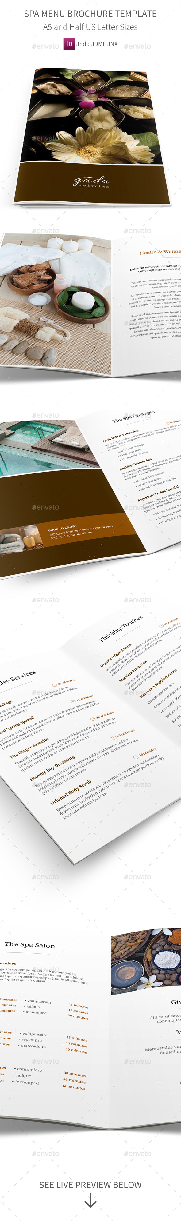 Spa Menu Brochure A5 Half Letter Sizes