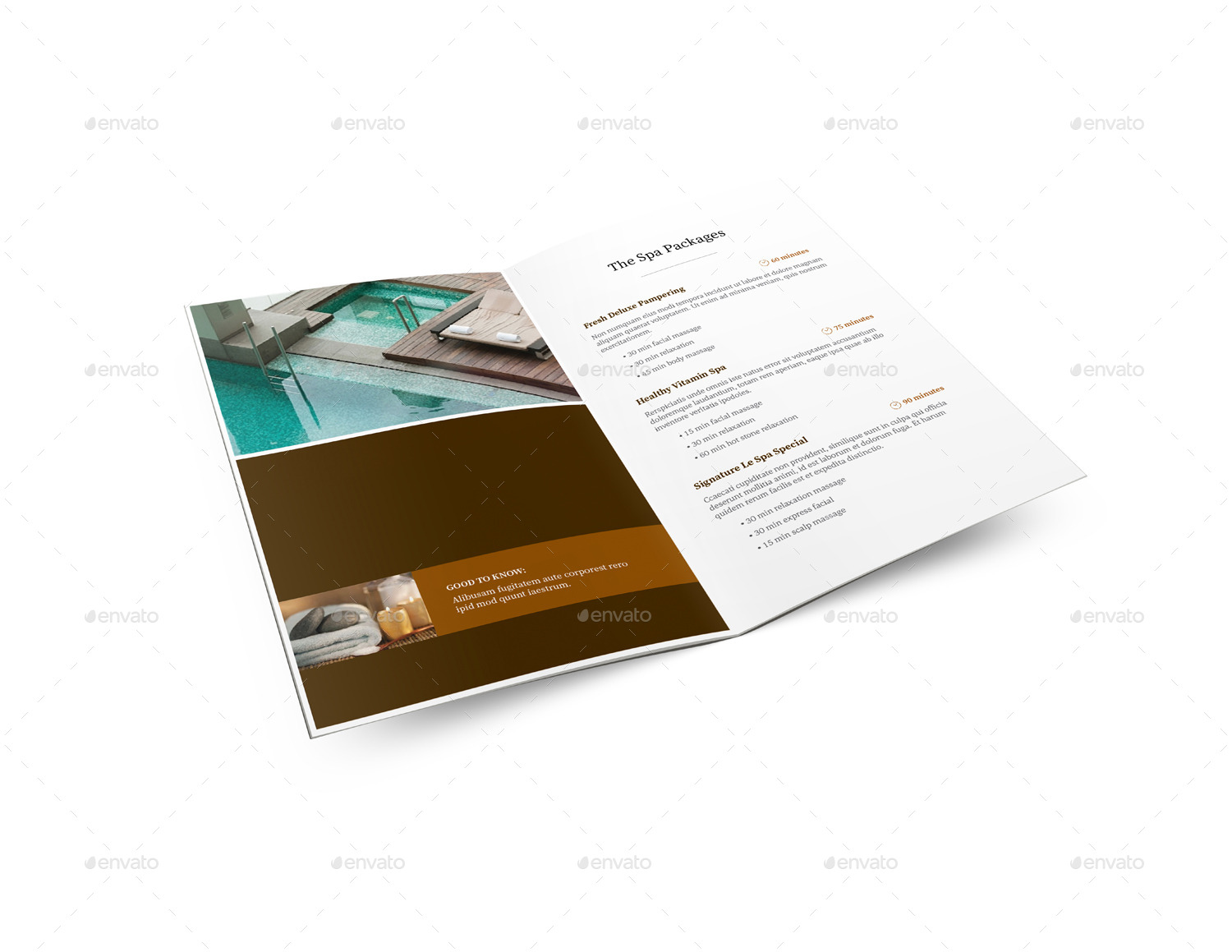 Spa menu brochure a5 half letter sizes by mike pantone for Letter size brochure template