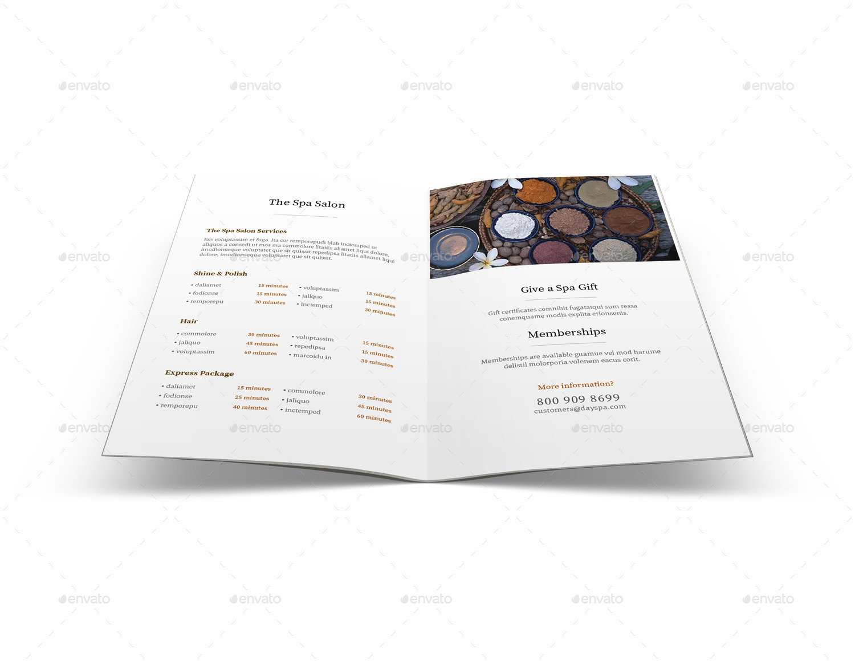 Spa Menu Brochure A5 Half Letter Sizes By Mikepantone Graphicriver