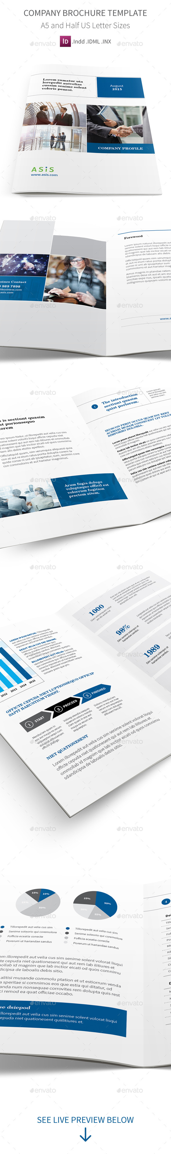 Company Profile Brochure A5 Half Letter Sizes