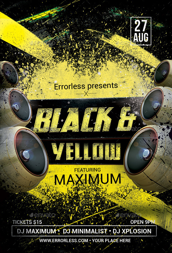 black  u0026 yellow party flyer by errorless