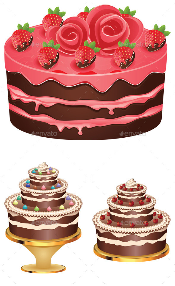Decorated Chocolate Cake - Food Objects